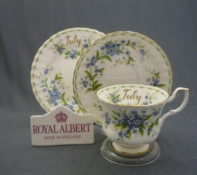 "Royal Albert England Flower of the Month ""JULY"" Tea Cup & Saucer & Plate Trio"