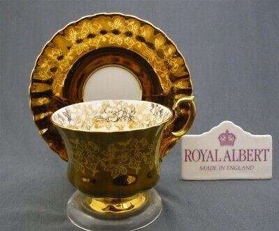 Royal Albert England Montrose Heavy Gold & Gold Leaves Tea Cup & Saucer Duo