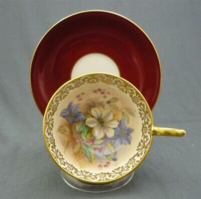 Fancy Aynsley Red & Gold Hand Painted Flowers Bone China Tea Cup & Saucer Duo