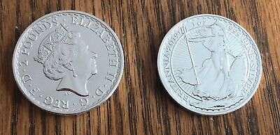 2019 Great Britain Uk 2 Pound Britannia - 1 Ounce .999 Silver - Bu - Plastic Rd