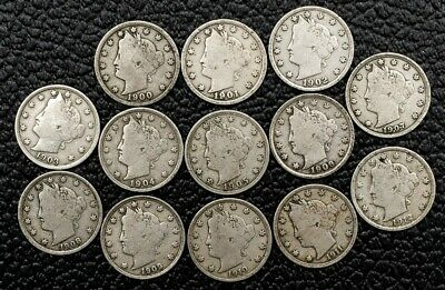 "Lot of 13 - 1900-1912 Liberty ""V"" Nickels - F/VF - Date Run"