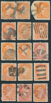 Lot of 15 3c Small Queens, Shades, Fancy Cancels, Fine+
