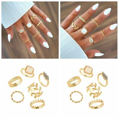 6pcs/Set Crystal Crown Women Gold Above Knuckle Finger Ring Band Midi Rings