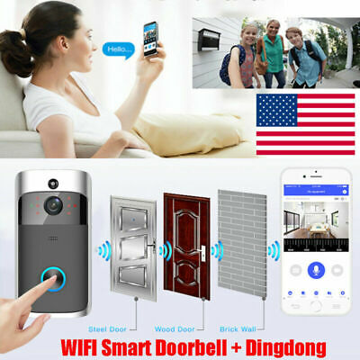 Smart Video Wireless WiFi Door Bell IR Visual Camera Record Security System Kits