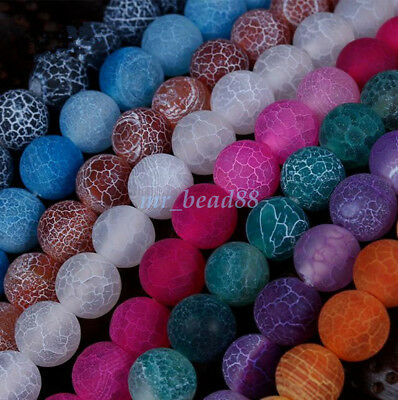 Assorted Colors Natural Matte Frosted Gemstone Round Beads 15'' 6mm 8mm 10mm DIY