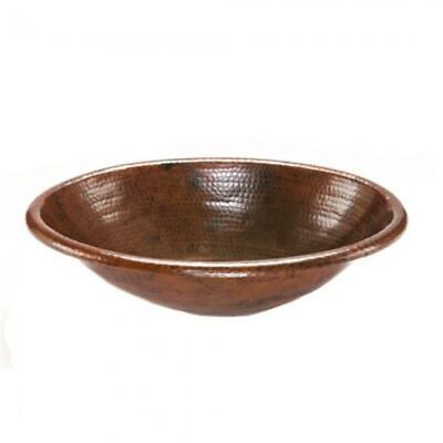 Premier Copper Products LO19RDB 19 in. Oval Self Rimming Hammered Copper Sink