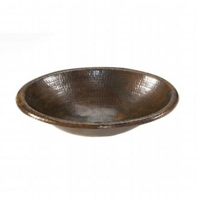 Premier Copper Products LO17RDB Small Oval Self Rimming Hammered Copper Sink ...