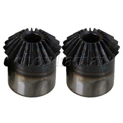 2 Pcs 20 Teeth Steel 1 Module Silver & Black Motor Tapered Bevel Gear Wheel