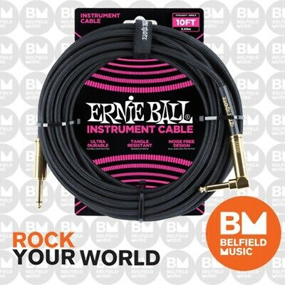 Ernie Ball 6081 Guitar Cable Lead 10ft Braided Straight / Angle Black Gold Tips