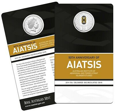 2014  AIATSIS   - 50cent coloured- Uncirculated carded Coin .  SCARCE   .. .. PT