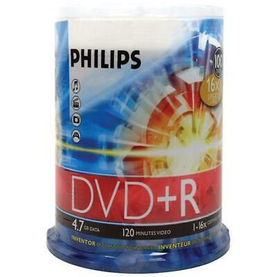 Philips DR4S6B00F-17 16x DVD Plus Rs 100-ct Cake Box Spindle 4.7GB