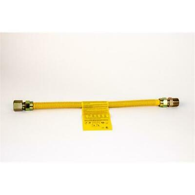 Charman 800-38-C4-72 Yellow Coated Gas Connector - 3/8 in. OD 1/2 in. FIP x 1...