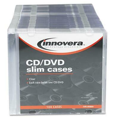 Innovera 85800 CD-DVD Polystyrene Thin Line Storage Case Clear 100-Pack