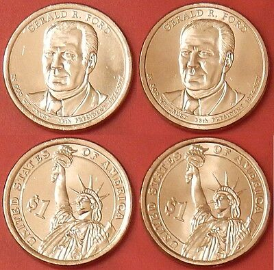 Brilliant Uncirculated 2016 P & D US Gerald Ford 1 Dollars From Mint's Rolls