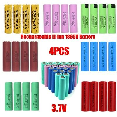 4PCS 3.7V 9800mah Rechargeable Li-ion 18650 Battery For Mobile Flashlight Torch