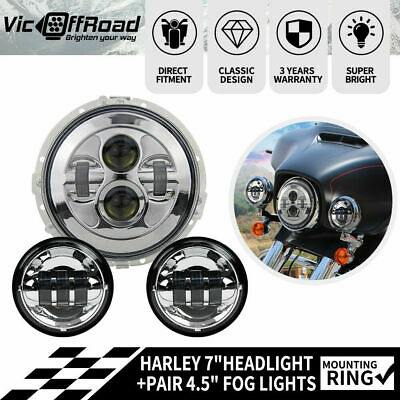 7Inch CREE LED  Harley Headlight Kit w/ Housing & Pair 4.5Inch Fog Lights Chrome