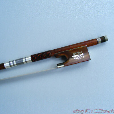 5 Star Pernambuco 4/4 Violin Bow Silver Mounted Red Ox Horn With Peafowl Bows