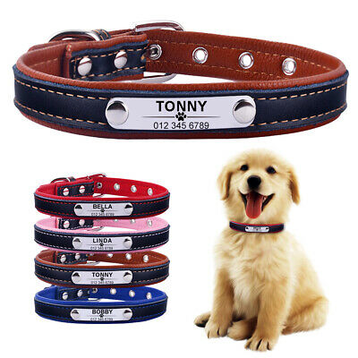 PU Leather Personalised Dog Collar Pet Cat Custom Engraved Name ID Tag Puppy S L