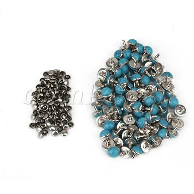 100Pcs Blue Turquoise Bullet Spikes Studs Rivets Cone Screwback 10mm Dia