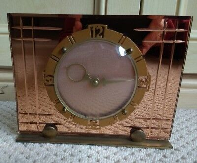 ART DECO PEACH MIRRORED GLASS - WIND UP MANTLE CLOCK with INSCRIPTION 1954