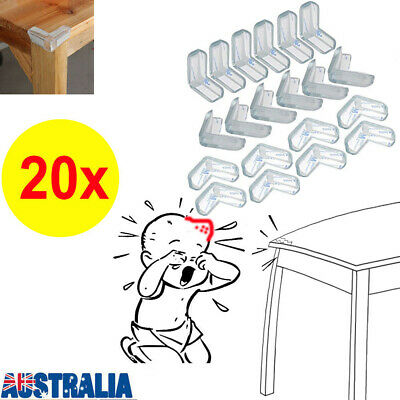 20x Desk Edge Soft Clear Protectors Table Corner Cushion Baby Child Safety Guard
