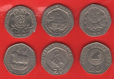 20p U.K. AND REGIONAL TWENTY PENCE COINS -  LARGE SELECTION