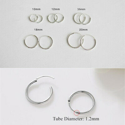 925 Sterling Silver Plated Hinged Hoop Sleeper Circle Ring Earrings Women/Men UK