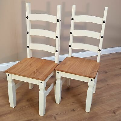 Corona Cream Dining Chairs x2 Painted 3 Slat Pine Seat by Mercers Furniture®
