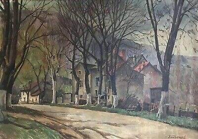 Very Large Mid 20Th Century French Signed Oil - Village Lane Landscape View