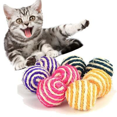 Cat Pet Sisal Rope Weave Ball Teaser Play Chewing Rattle Scratch