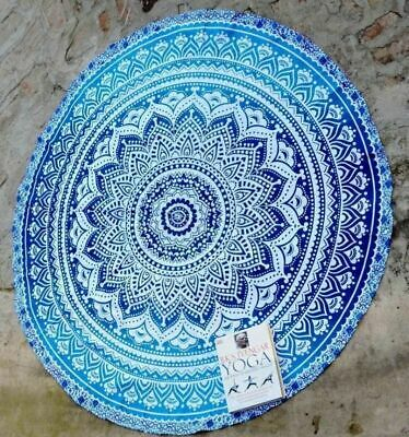 Indian Blue Ombre Mandala Round Tapestry Cotton Yoga Mat Table Cover Beach Throw