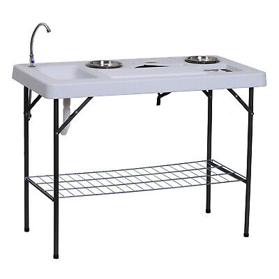 Fish Cleaning Table Camp Folding Table Flexible Faucet Washing Sink