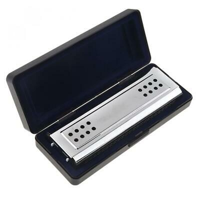 Professional Harmonica 24 Holes Key ofC SILVER w/Case Blues Harp Stainless Steel