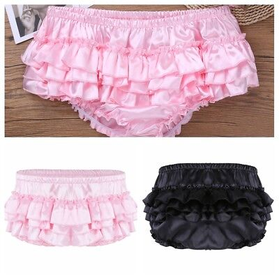 Sissy Mens Shiny Satin Ruffled Thongs Underwear Bloomer Skirted Panties Knickers