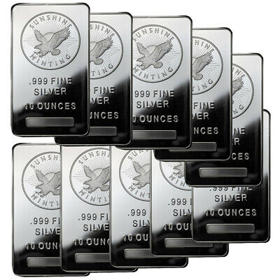 10 oz Sunshine Silver Bars - 100 oz Total .999 fine (New, Lot of 10)