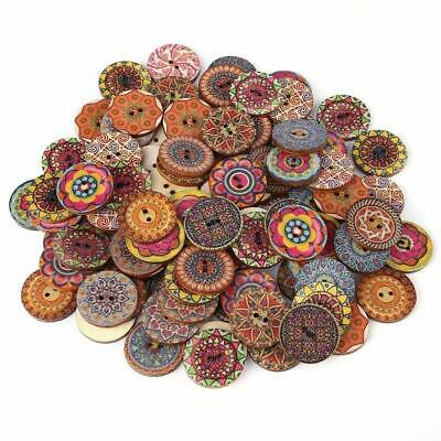 100x 25mm Wooden Button 2-Holes Flower Mixed Pattern Sewing Scrapbooking Clothes
