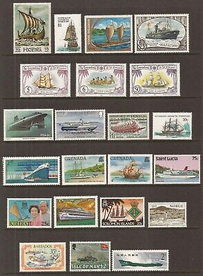Collection of 22 different MNH Ships + Boats stamps