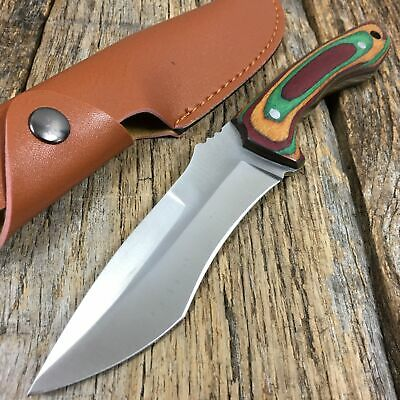 HUNTER OUTDOORS COLORED WOOD Handle Full-Tang Hunting Knife W/ Leather Sheath