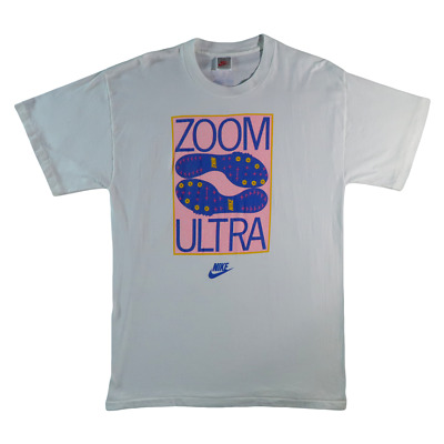 6d3b4ec93 Vintage Nike 90s Grey Tag Zoom Ultra White T Shirt Single Stitch L Cleat Vtg