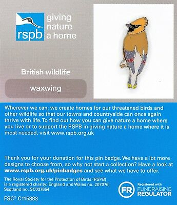 RSPB Pin Badge | Waxwing (revised 2018) | GNaH [01392]