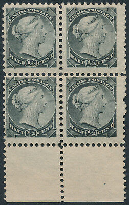 Canada #34 1/2c Small Queen Block of 4, Re-Entries, Fine+ OG