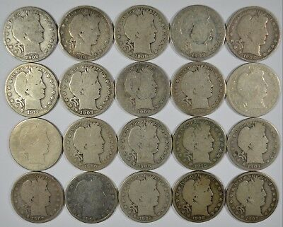 Lot of 20 Collectible Silver Barber Half Dollars $10 Face Value (b518.148)