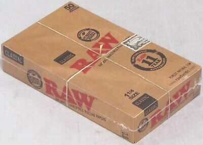 RAW Classic Rolling Papers FULL BOX Natural 1 1/4 Unrefined 24 Packs 1200 Leaves