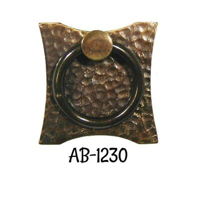 Drawer Door Pull Antiqued Hammered Brass Mission Arts & Crafts Ring Pull