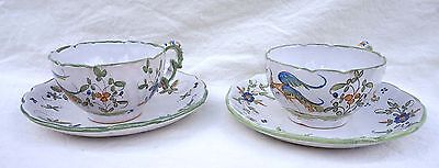 Martres Tolosane French Hand Painted Faience Pair Breaksfast Tea Cup & Saucer