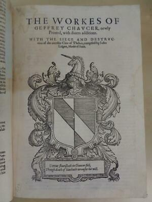 1602 Geoffrey Chaucer Collected Works Poetry English Literature Canterbury Tales
