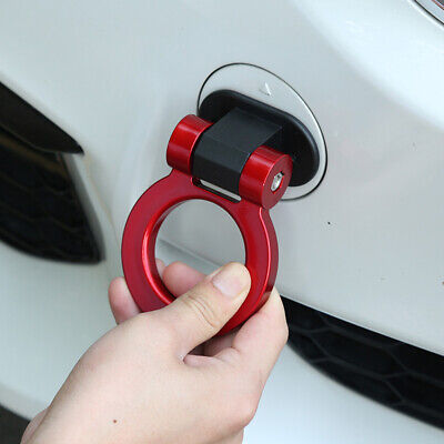 1PC Universal Car Red Ring Track Racing Tow Hook Look Decoration ABS Plastic