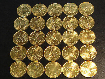 25 Gold Plated State Quarters 1999 2000 2001 2002 2003 (Half a Set)
