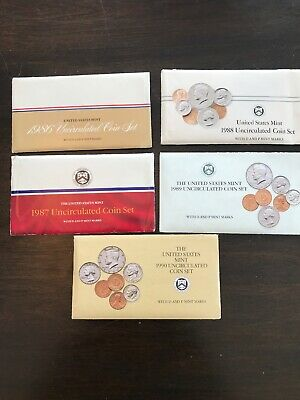 1986,1987,1988,1989, 1990 Uncirculated United States Mint Coin Sets