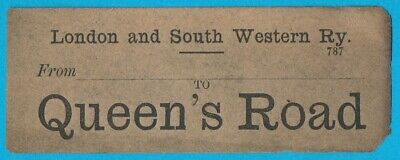 London & South Western Railway luggage label - QUEENS ROAD